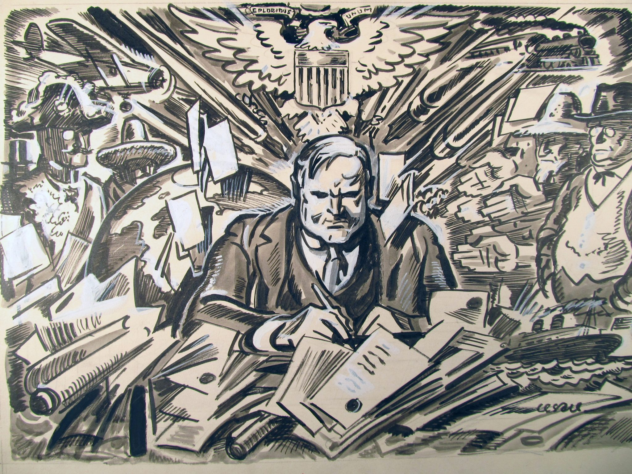 Herbert<em>Hoover</em>as<em>the</em>new<em>President,</em>March<em>17,</em>1929.by<em>Oscar</em>Cesare.original<em>drawing</em>kriza<em>USA</em>chudoba_nezamestnanost